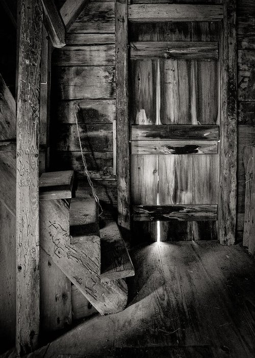 Pantigo Windmill Greeting Card featuring the photograph Old Room - Rustic - Inside The Windmill by Gary Heller