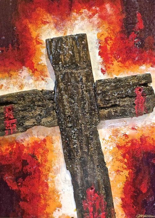Deep Greeting Card featuring the painting Old Rugged Cross by Jim Ellis