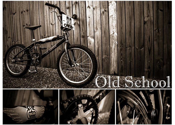 Bmx Greeting Card featuring the photograph Old School Bmx - Pk Collage Bw by Jamian Stayt