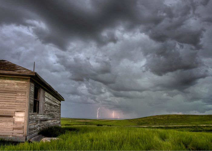 Prairie Greeting Card featuring the photograph Old School House And Lightning by Mark Duffy