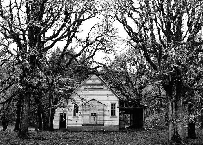 School House Greeting Card featuring the photograph Old School House In The Woods by Thomas J Rhodes