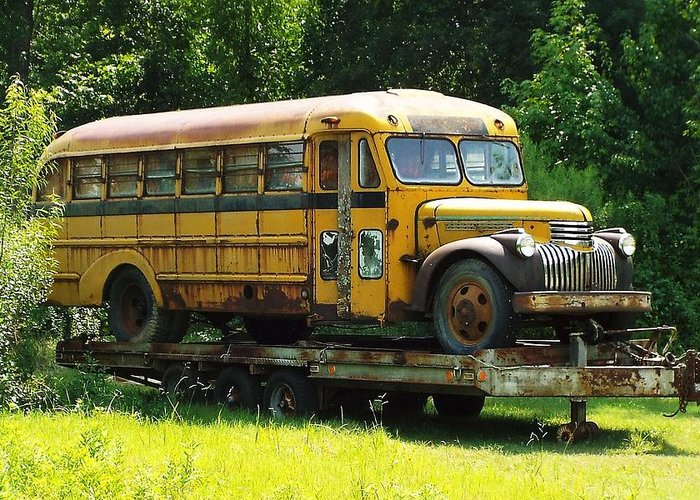 Old Schoolbus Greeting Card For Sale By Keith Bass