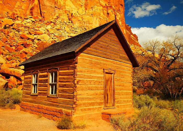 Schools Greeting Card featuring the photograph Old Schoolhouse Near Capital Reef Utah by Jeff Swan