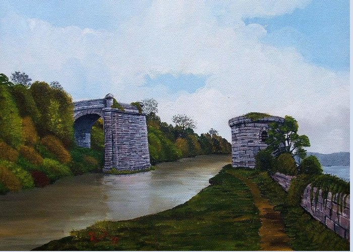 Landscape Greeting Card featuring the painting Old Severn Bridge by Richard Taylor