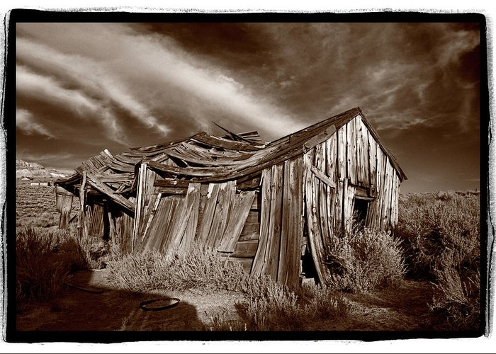 Black Greeting Card featuring the photograph Old Shack Bodie Ghost Town by Steve Gadomski