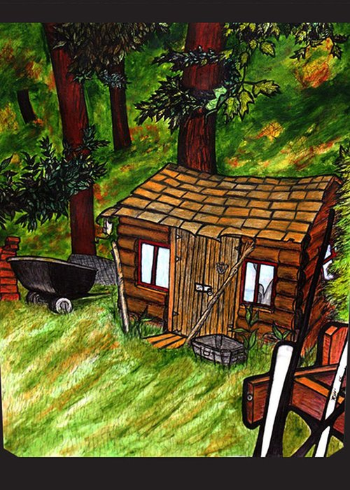 Landscape Greeting Card featuring the painting Old Shed Shed by Ryan Lee
