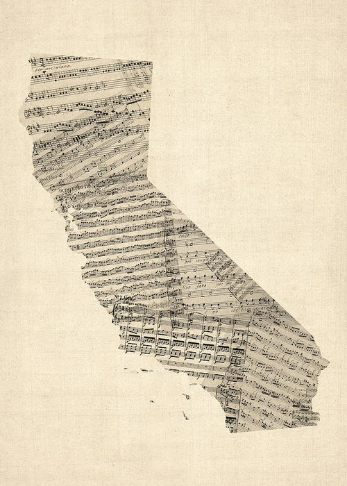 California Map Greeting Card featuring the digital art Old Sheet Music Map Of California by Michael Tompsett