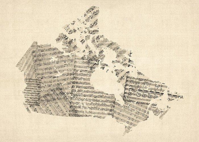 Canada Map Greeting Card featuring the digital art Old Sheet Music Map Of Canada Map by Michael Tompsett