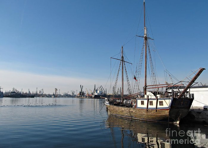 Sea Greeting Card featuring the photograph Old Ship In Calm Water Harbor by Kiril Stanchev