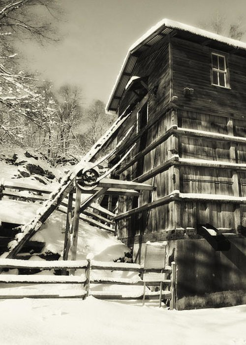 Scenic Greeting Card featuring the photograph Old Snow Covered Quarry Mill by George Oze