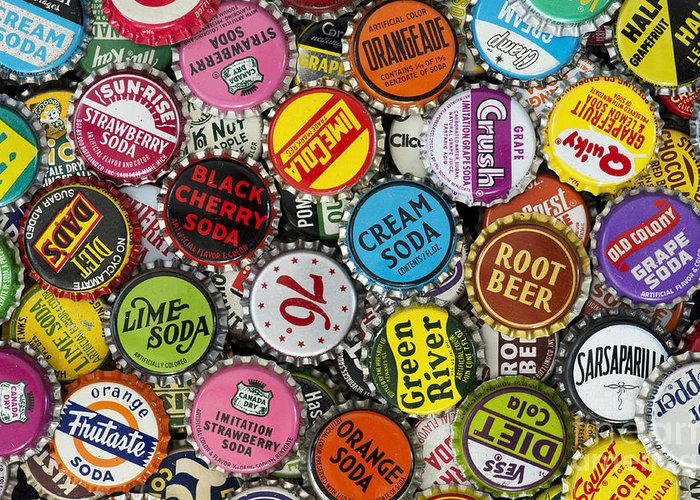 Old soda caps greeting card for sale by tim gainey for Soda caps for sale