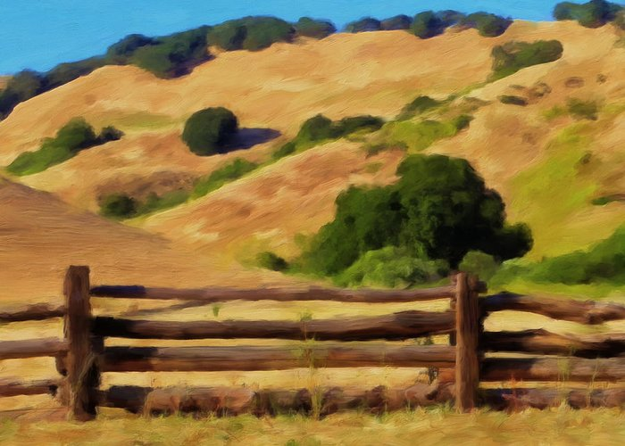 Split Rail Fence Greeting Card featuring the painting Old Split Rail Fence by Michael Pickett