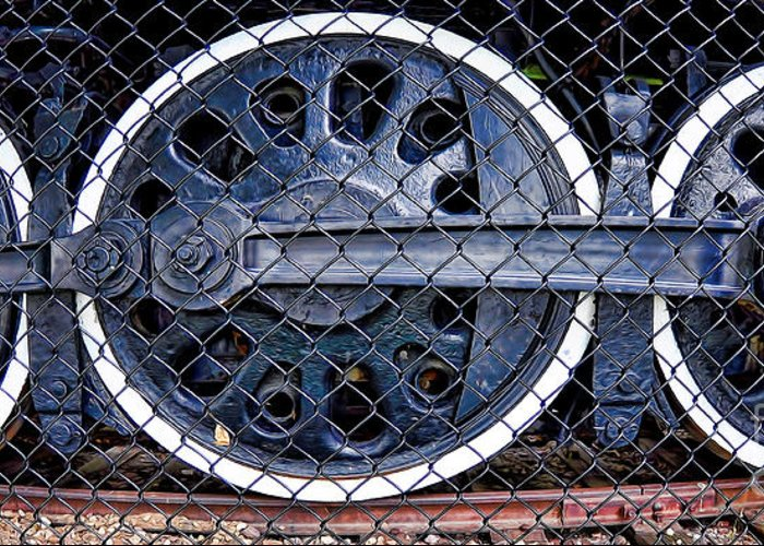 Old Steam Engine -train Wheels Greeting Card featuring the photograph Old Steam Engine -train Wheels by Liane Wright