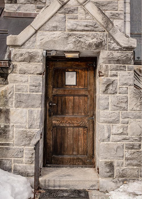 House Greeting Card featuring the photograph Old Stone Church Door by Edward Fielding