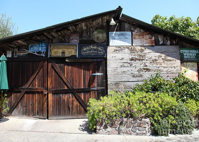 Storage Greeting Card featuring the photograph Old Storage Shed At The Swiss Hotel Sonoma California 5d24458 by Wingsdomain Art and Photography