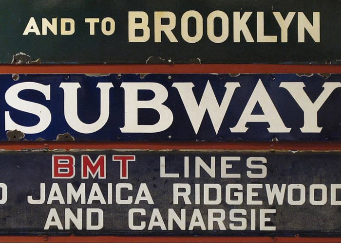 Subway Greeting Card featuring the photograph Old Subway Signs by Dave Mills