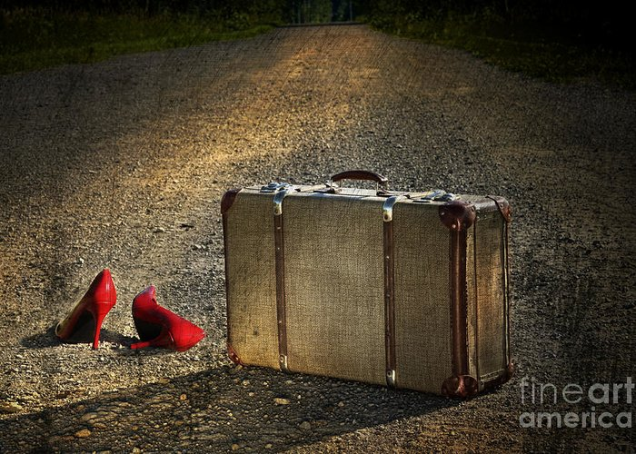Aged Greeting Card featuring the photograph Old Suitcase With Red Shoes Left On Road by Sandra Cunningham