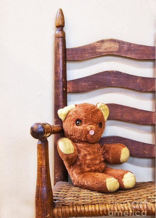 Old Greeting Card featuring the photograph Old Teddy Bear Sitting In Chair by Birgit Tyrrell