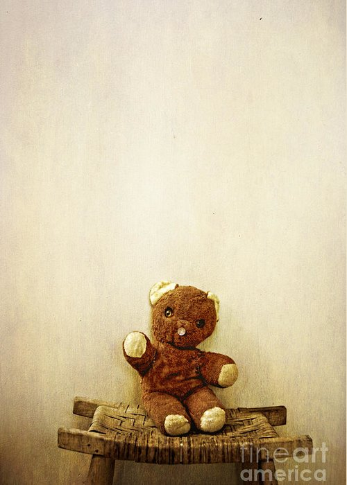 Old Greeting Card featuring the photograph Old Teddy Bear Sitting On Stool by Birgit Tyrrell