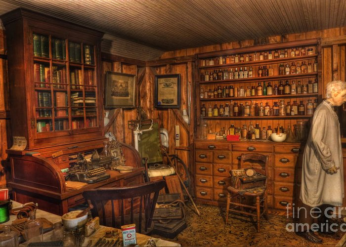 Alchemist Greeting Card featuring the photograph Old Time Pharmacy - Pharmacists - Druggists - Chemists  by Lee Dos Santos