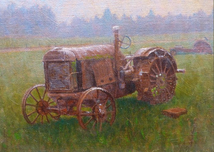 Landscape Greeting Card featuring the painting Old Timer Canterbury by Terry Perham