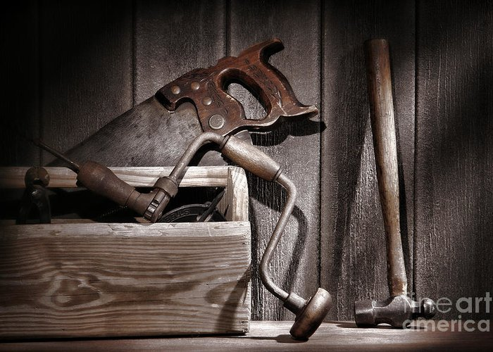 Carpenter Greeting Card featuring the photograph Old Tools by Olivier Le Queinec