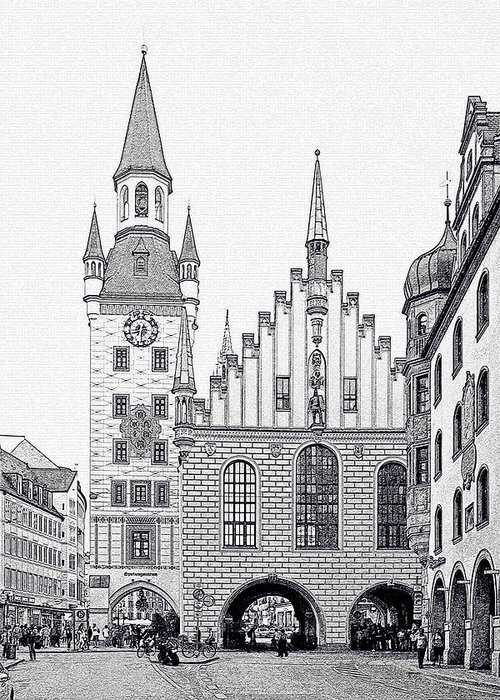 City Greeting Card featuring the photograph Old Town Hall - Munich - Germany by Christine Till