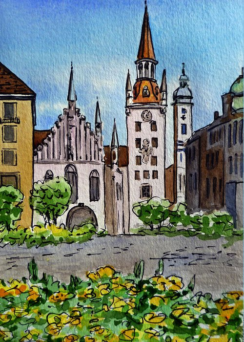 Munich Greeting Card featuring the painting Old Town Hall Munich Germany by Irina Sztukowski
