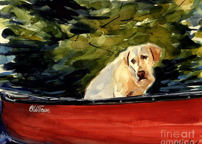 Yellow Labrador Retriever Greeting Card featuring the painting Old Town by Molly Poole