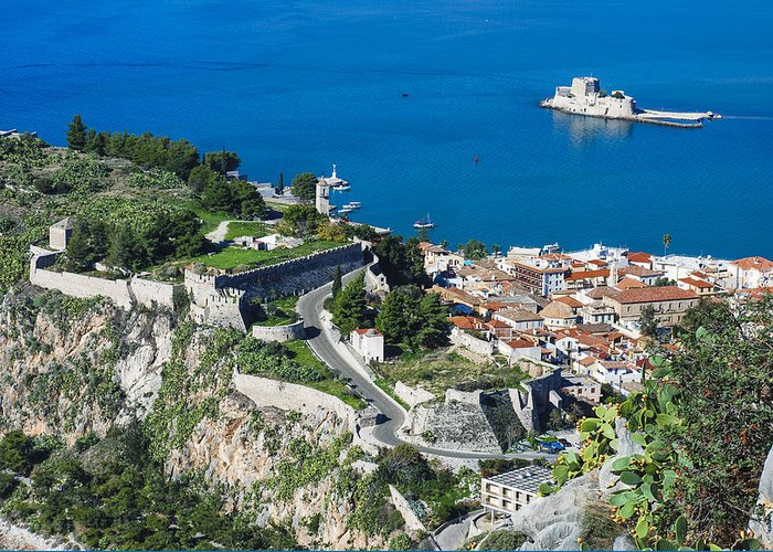 Nafplio Greeting Card featuring the photograph Old Town Nafplio And Ruins by David Waldo