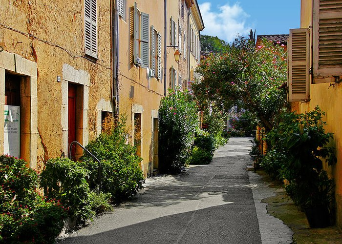 Valbonne Greeting Card featuring the photograph Old Town Of Valbonne France by Christine Till