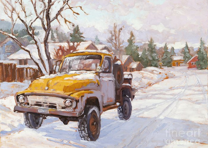 Old Truck Greeting Card featuring the painting Old Town Ride by Chula Beauregard