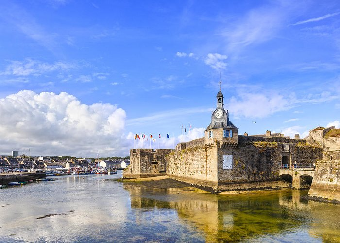 Belfry Greeting Card featuring the photograph Old Town Walls Concarneau Brittany by Colin and Linda McKie