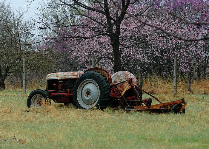 Tractor Greeting Card featuring the photograph Old Tractor And Redbuds by Jill Westbrook