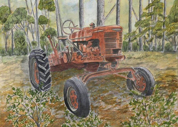 Old Greeting Card featuring the painting Old Tractor Vintage Art by Derek Mccrea