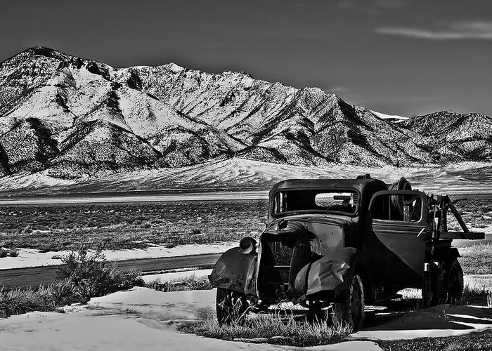 Black And White Greeting Card featuring the photograph Old Truck by Robert Bales