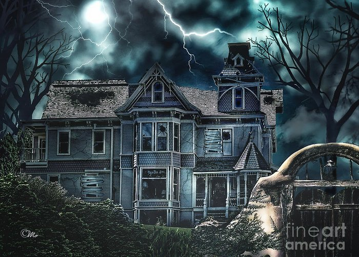 Old Victorian House Greeting Card featuring the digital art Old Victorian House by Mo T
