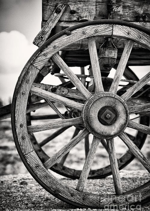 Aged Greeting Card featuring the photograph Old Wagon Wheels by Jane Rix