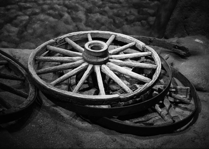 Rustic Greeting Card featuring the photograph Old Wagon Wheels by Paul Freidlund