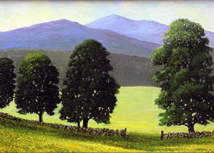 Landscape Greeting Card featuring the painting Old Wall Old Maples by Frank Wilson