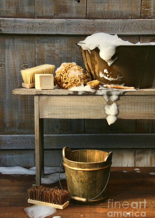 Antique Greeting Card featuring the photograph Old Wash Tub With Soap And Scrub Brushes by Sandra Cunningham