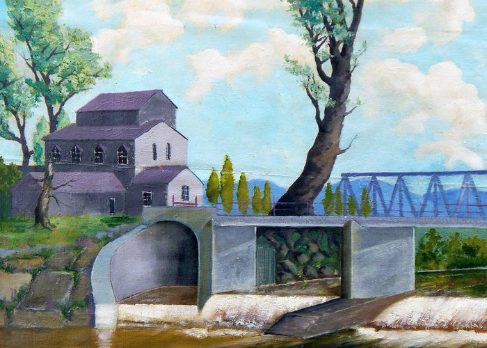 Old Greeting Card featuring the painting Old Water Mill by Sergey Bezhinets