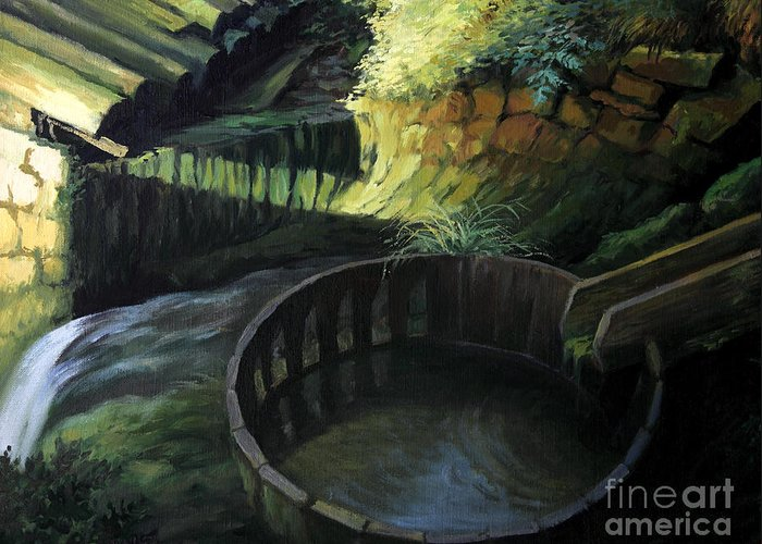 Art Greeting Card featuring the painting Old Watermill by Kiril Stanchev