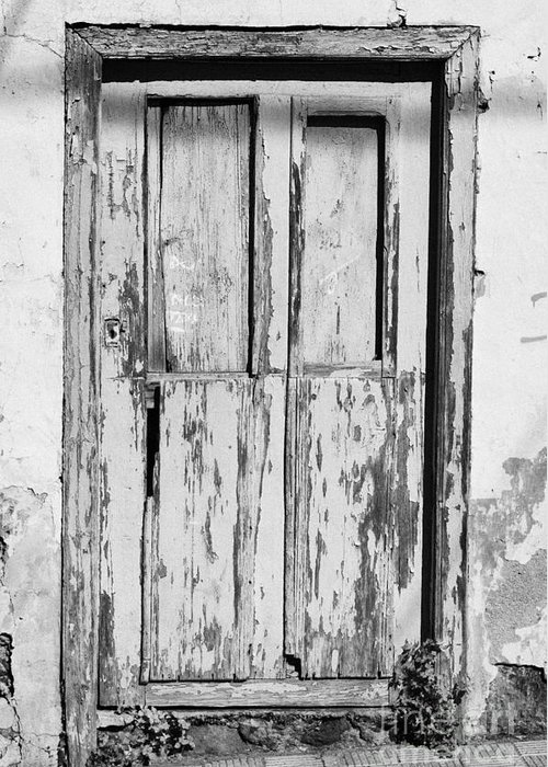 Europe Greeting Card featuring the photograph old weathered green painted wooden door entrance to abandoned house with cracked stucco walls in Tacoronte Tenerife Canary Islands Spain by Joe Fox