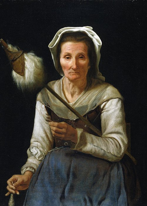 Female Greeting Card featuring the painting Old Woman Spinning, 1646-48 by Michael Sweerts