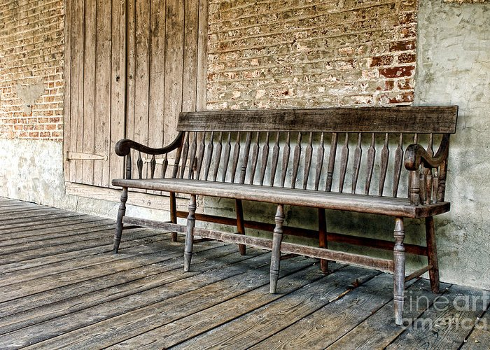 Bench Greeting Card featuring the photograph Old Wood Bench by Olivier Le Queinec