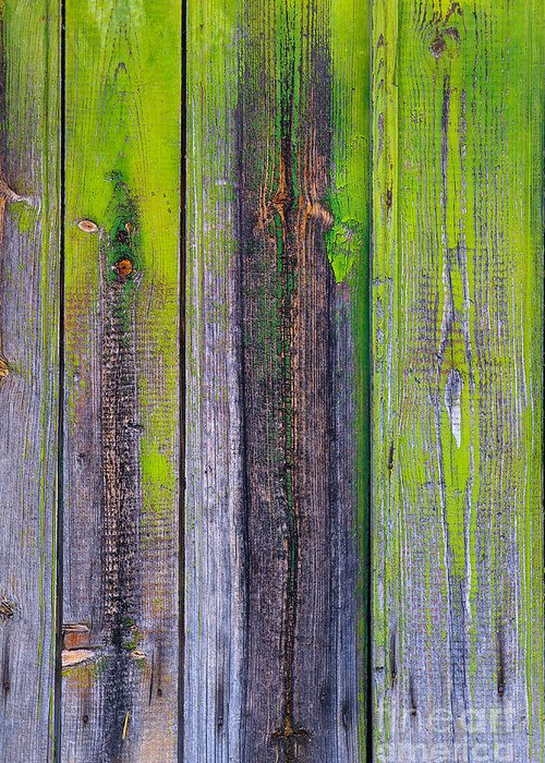 Abstract; Abuse; Aging; Antique; Backgrounds; Board; Broken; Ceiling; Crack; Crackle; Crisp; Crispy; Crumble; Decay; Dirty; Distressed; Door; Dry; Green; Grunge; Obsolete; Old; Old-fashioned; Paint; Pattern; Peel; Plank; Plaster; Process; Rough; Ruin; Rundown; Texture; Timber; Used; Wall; Wallpaper; Weathered; White; Wood; Wooden; Worn; Yellow Greeting Card featuring the photograph Old Wooden Background by Carlos Caetano