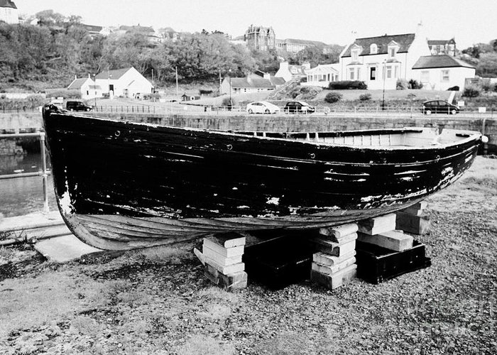 Portpatrick Greeting Card featuring the photograph Old Wooden Fishing Boat In Portpatrick Harbour Scotland Uk by Joe Fox