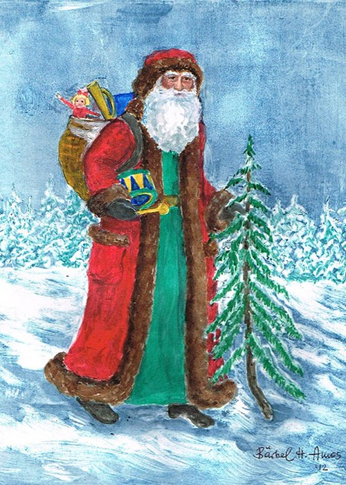 Old World Father Christmas Greeting Card featuring the painting Old World Father Christmas4 by Barbel Amos