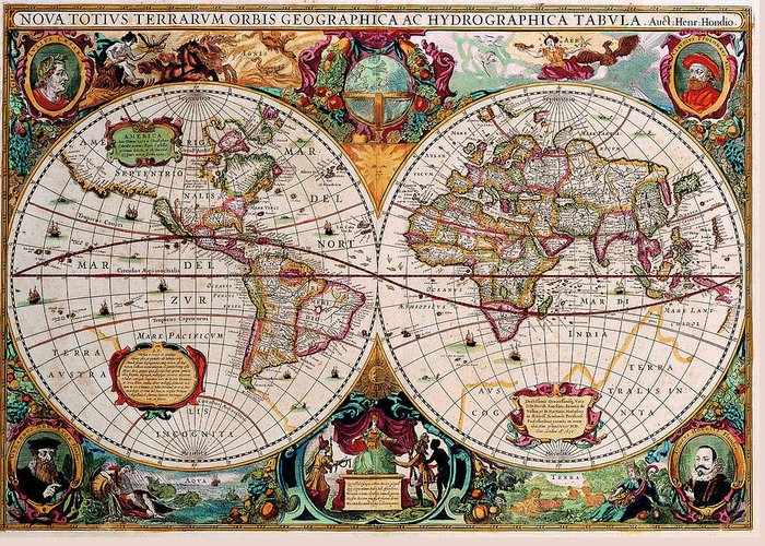 Map Greeting Card featuring the digital art Old World Map by Csongor Licskai
